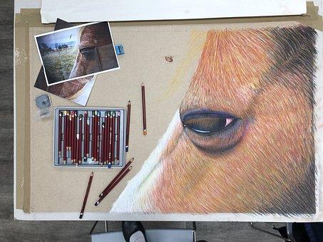 Art, Drawing, Horse, Pastel, Creativity, Creative