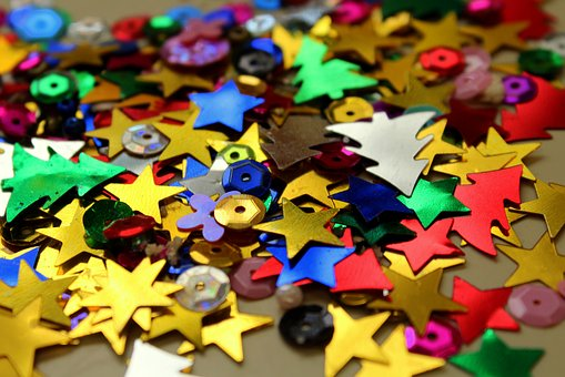 Stars, Sequins, Shiny, Decorative Elements, Colorful