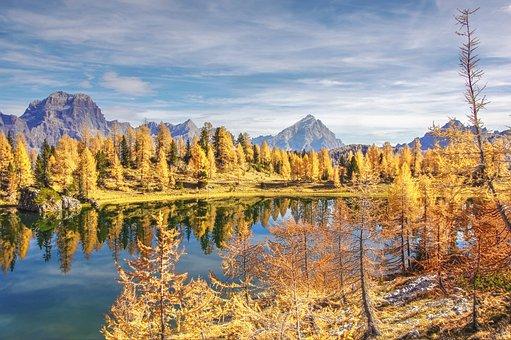 Indian Summer, Lago Federa, Dolomites, Landscape