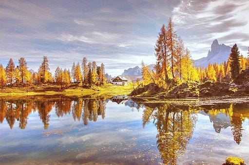 Indian Summer, Lago De Federa, Dolomites, Mountains