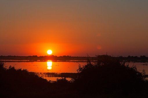 Sunset Over River, River, Sunset, Africa, Chobe, Dusk