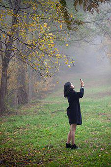 Woman, Autumn, Morning, Fog, Gil, Autumn Leaves