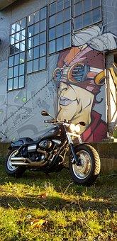 Motorcycle, Harley, Railway Station, Grafity, America