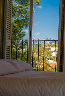 Hotel, Bed, Room, Views, Montserrat, Mountain, Window
