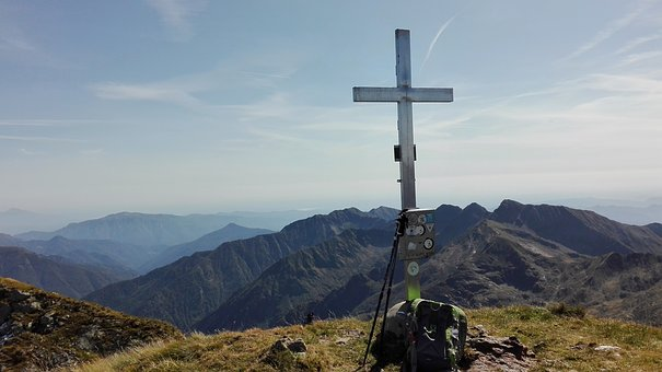 Hiking, Trekking, Mountain, Top, Cross, Nature