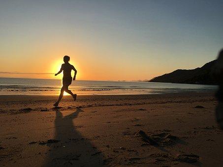 Beach, Sunrise, Run, Ocean, Dawn
