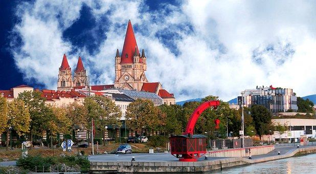Vienna, Mexico Church, Pier, Austria, Capital, Water