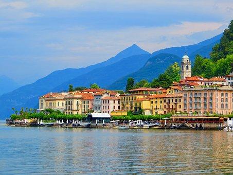 Italy, Bellagio, Port, Water, Village, Como, Lake
