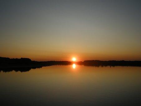 Evening, River, Sunset, Irtysh, Siberia, Reflection