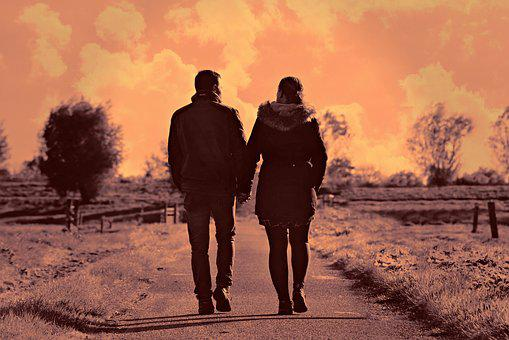Man, Woman, Couple, Road, Walking, Hand In Hand