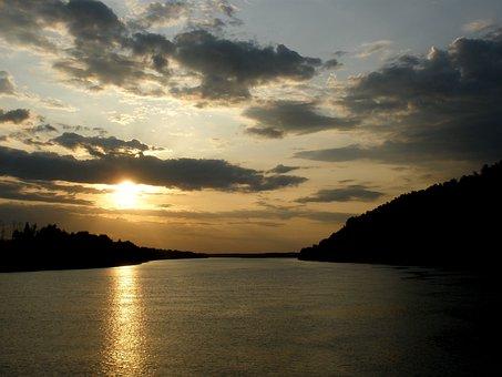River, Irtysh, Sky, Sunset, Clouds, Siberia, Russia