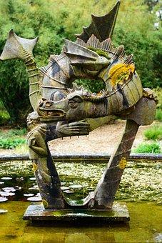 Statue, Pond, Garden, Ornament, Water, Nature