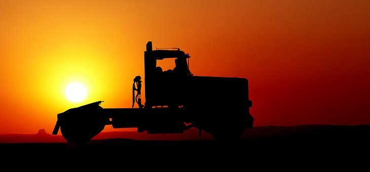 Sunset, Truck, American, Color, Shadow, Orange, Summer