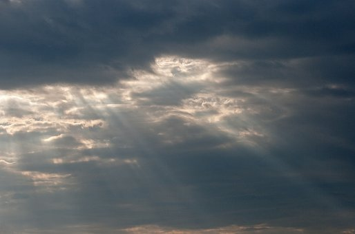 Sunbeams Protruding Through Clouds, Clouds, Sky, Dark
