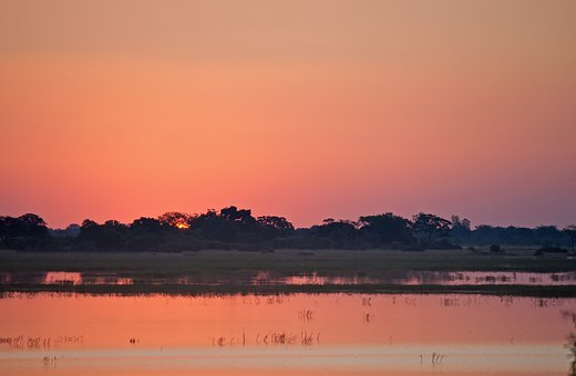 Sunset Over River, River, Sunset, Africa, Chobe, Dusk