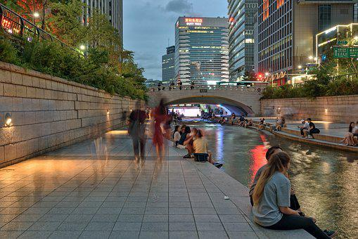 Seoul, Cheonggyecheon Stream, Night View, Tour, Korea