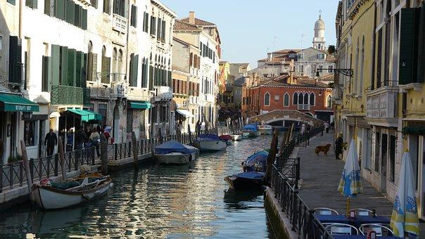 Venice, Italy, Channel, Gondola, River
