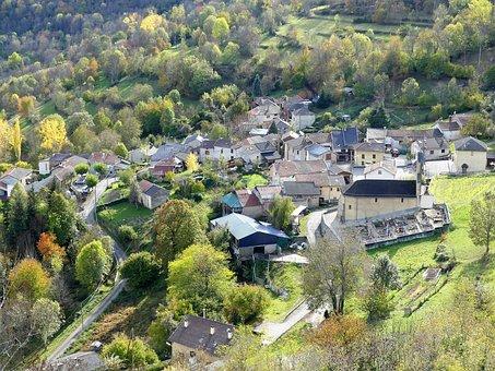 Landscape, Nature, Village, Mountain, Fall, Trees
