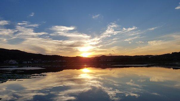 Glow, Lake, Sunset, Sky, Evening Glow, Nature, Water