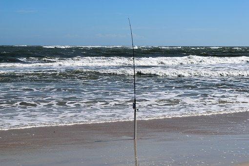 Fishing Pole, Beach, Ocean, Waves, Surf Fishing, Rod