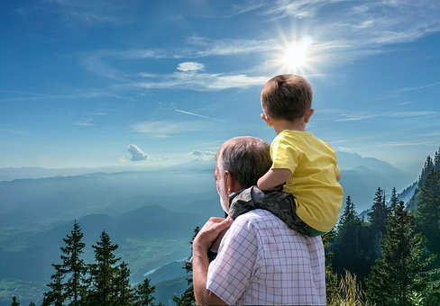 Father, Child, Journey, Grandfather, Happy, Together