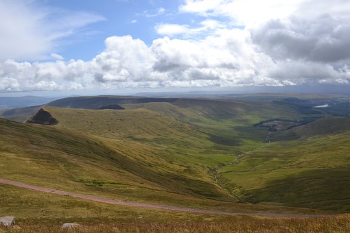 Mountains, Countryside, Brecon Beacons, Sky, Clouds