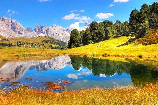 Lech Sand, Col Raiser, Odle, Dolomites, Alm, Nature
