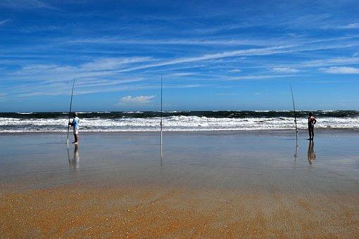 Surf Fishermen, Beach, Ocean, Waves, Fishing, People