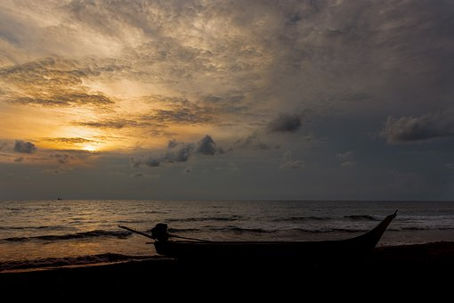 Boat, Beach, Sea, Landscape, Fishing, Sky, Sunrise
