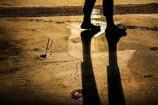 Modern Pilgrim, Journey, Walking, Footsteps, Shadows