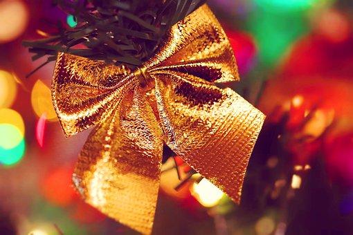 Bow, Golden, Brilliant, Christmas Tree, Bokeh, Gold