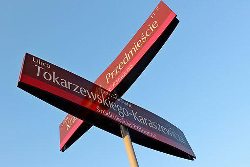 Poland, Warsaw, Krakow Suburb, The Intersection, Street