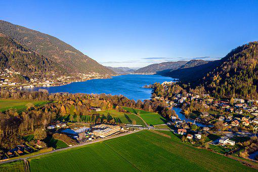 Aerial View, Landscape, Lake, Nature, Water, Sky