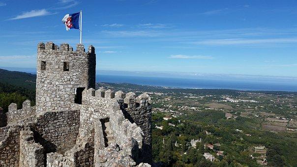 Castle, Landscape, Portugal, Architecture, Nature