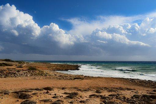 Coast, Landscape, Sea, Nature, Beach, Sky, Clouds
