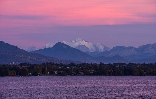 Mountain, Lake, Landscape, Summit, Sky, Sunset
