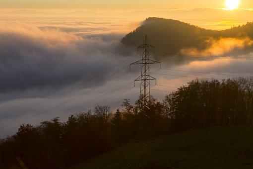 Sunrise, Fog, Mast, Morgenstimmung