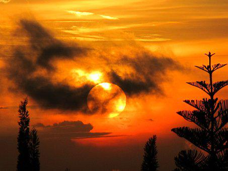 Mysterious, Sunset, Cloudy, Silhouettes