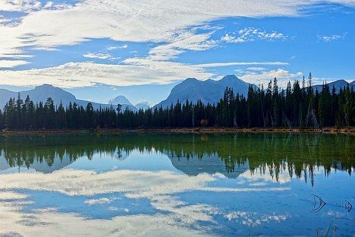 Reflection, Lake, Mountains, Landscape, Nature, Mood