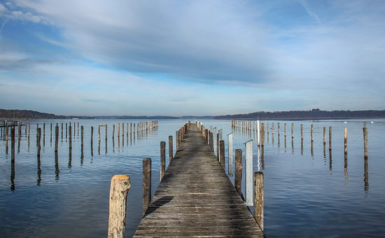 Lake, Pier, Wood, Sky, Clouds, Germany, Nature, Water