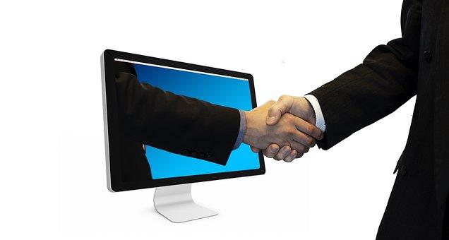 Handshake, Hands, Monitor, Online, Partner, Each Other
