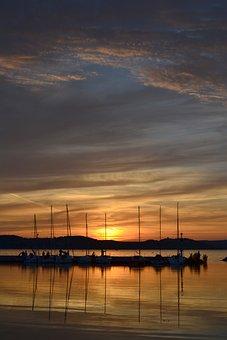 Lake Balaton, Sunset, Port, Light, Lake, Water