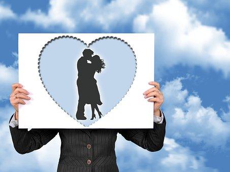 Romantic, Love, Feeling, Poster, Heart, Silhouette