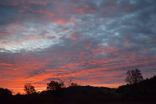 Sunrise, Landscape, Colorful, Clouds, Trees, Nature