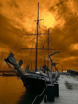 Sunrise, Sunshine, Sunset, Ship, Cloud, Sea, Blacksea