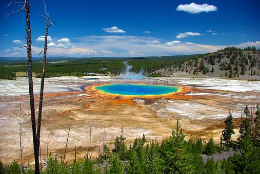 Grand Prismatic From Overlook, Thermal, Spring, Grand