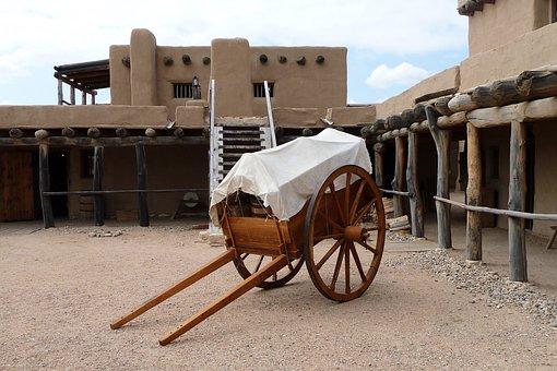 Cart Inside Bent's Old Fort, Fort, Trading Post