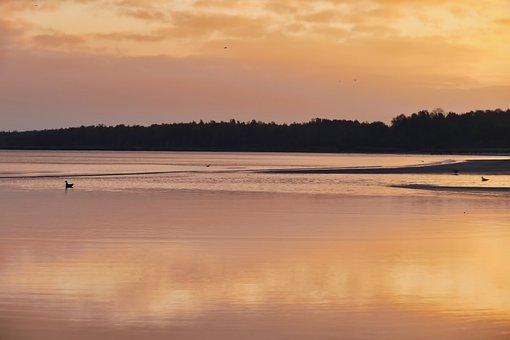 Sea, Mirroring, Twilight, Water, Sunset, Mood