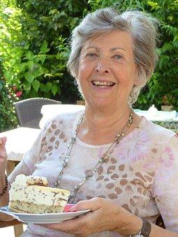 Woman, Seniorin, Age, Cake, Cafe, Old, Grandma, Fold