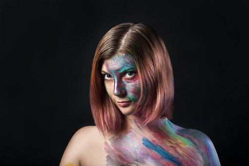 Paint, Person, Girl, Woman, Portrait, Color, Model